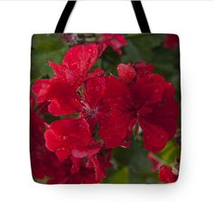 """Red and Green Glory by KIRSTEINFINEART. Cherish this flexible designer canvas tote bag complete with carrying straps. Lovely spring geranium blossoms grace the front exterior. 18"""" x 18.""""  #tote #hand bag #geranium blossom #floral #fashion bag"""