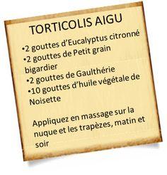 Découvrez comment soigner un torticolis avec les huiles essentielles. Des remèdes naturels existent pour soigner un torticolis, ils ont simples à utiliser.