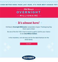 Old Navy Black Friday 1 Million Dollar Giveaway