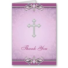 Shop Pink Rose Damask Cross Christian Thank You Card created by InvitationCentral. Thank You Card Design, Custom Thank You Cards, Christening Thank You Cards, Blue Cross, White Crosses, First Communion, Damask, Paper Texture, Christian