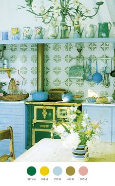 beautifully colour co-ordinated kitchen
