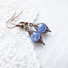 blue sugar earrings  adorable sweet wire wrapped by KicaBijoux, $8.00