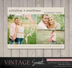 Save the Date Postcard or Magnet (Printable) DIY by Vintage Sweet. $10.00, via Etsy.
