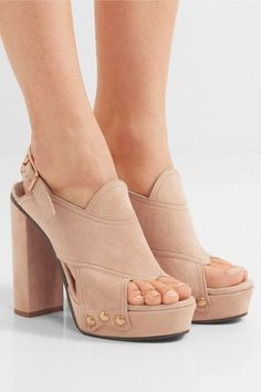Heel measures approximately 100mm/ 4 inches with a 30mm/ 1 inch platform Beige suede Buckle-fastening slingback strap Designer color: Reef Shell Made in Italy