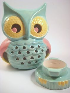 "This cute little owl will light your way....    Hand crafted from a vintage mold, each ceramic owl is hand painted to bring out all of its detail. Made up of two pieces, the bottom piece twists off to place an LED votive candle inside, included. Perfect gift for all ages. Measures: 4""D x 6.25""H x 4.75"" W    $49.99   Note: lantern is made to be used with an LED votive candle only."