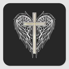 Catholic Tattoos, Biblical Tattoos, Meaningful Tattoos, Cross Tattoo Designs, Cross Designs, Ring Tattoos, I Tattoo, Cross With Wings Tattoo, Cross Coloring Page
