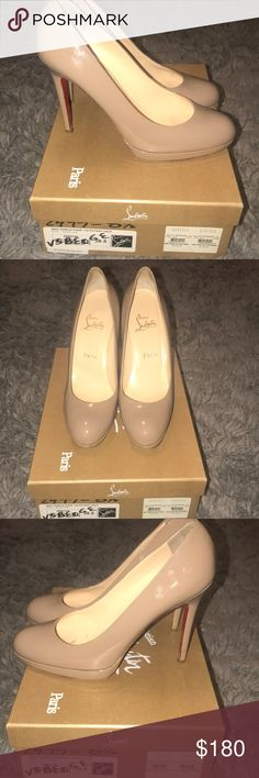 Christian Louboutin Nude Patent Pump 120 sz. 38.5 Christian Louboutin Nude Patent Pump 120 sz. 38.5 So comfy because of the small platform! Classic Shoe Christian Louboutin Shoes Heels