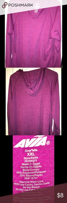 AVIA XXL Athletic Hooded Shirt Athletic or Workout shirt that is in EUC.  Has a cute hood, and a pretty color.  XXL  Perfect for career, working out, gym, exercise, casual or hanging out. Avia Tops Sweatshirts & Hoodies