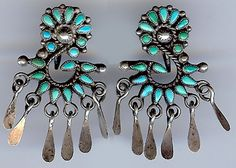 VINTAGE ZUNI STERLING SILVER CLUSTER TURQUOISE EARRINGS