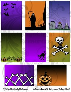 Halloween Toon ATC ACEO Digital Collage Sheet Bases by indigochyld, $1.50