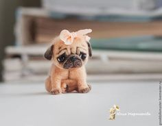 Needle felted sad Pug by Russian artist Julia Martynova