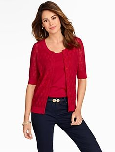 Talbots - Pointelle Elbow Sleeve Cardigan   Sweaters  