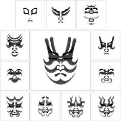 Diferentes diseños de kumadori.