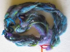 My first attempt at spinning 'thick and thin'. The yarn held together but it is somewhat lumpy bumpy, not the effect I had hoped to achieve.