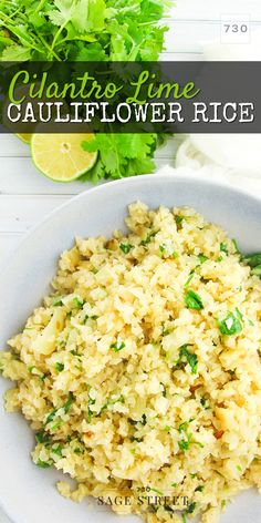 Easy Cilantro Lime Cauliflower Rice Recipe This delicious and easy cauliflower rice recipe will leave everyone wanting more and no one will even guess that it's made from cauliflower! Healthy Rice Recipes, Veggie Recipes, Vegetarian Recipes, Cooking Recipes, Vegetarian Breakfast, Vegan Vegetarian, Coliflower Rice Recipe, Riced Califlower Recipes, Califlower Rice