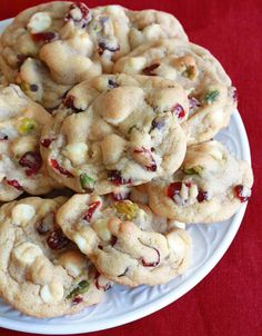 White Chocolate Cranberry/Cherry Pistachio Cookies - The Daring Gourmet Note: sub Mac nuts for pistachios