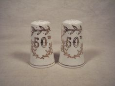 Lefton 50th Hand Painted Anniversary Salt & Pepper 1955 Gold