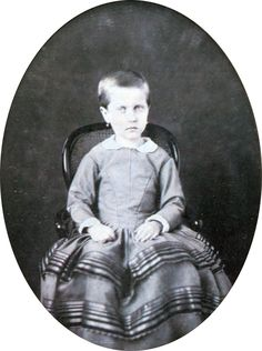 Isabel Cristina Leopoldina Augusta Micaela Gabriela Rafaela Gonzaga of Braganza, Princess Imperial of Brazil, was born in 1846.  Here we can see her photographed in 1851, around 5 years old, with her hair shaved due to typhoid fever.