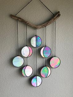 Purple Iridescent Moon Phase Hanging // Celestial Art // Moon Phase Wall Decor // Stained Glass Moon Phase // Phases of the Moon // Lunar Cy - house decoration ideas Kids Crafts, Diy And Crafts, Arts And Crafts, Recycled Cd Crafts, Recycled Denim, Fall Crafts, Handmade Home Decor, Diy Home Decor, Deco Rose