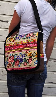 A lot of lovely bags, using the same idea I have with thrift purchased embroidery and weaving