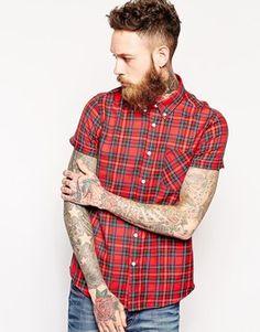 ASOS+Twill+Shirt+In+Short+Sleeve+With+Tartan+Check