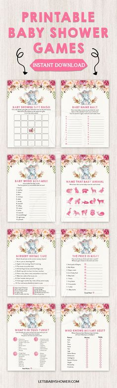 Elephant Baby Shower Game Pack: Tribal & Boho Looking for a Baby Shower theme for girls? Here's one of the baby shower ideas your guests will surely enjoy. Watercolor Boho Elephant Baby Shower Games for Girls Boho Baby Shower, Bebe Shower, Baby Boy Shower, Baby Shower Stuff, Girl Baby Showers, Baby Shower Wording, Floral Baby Shower, Baby Shower Centerpieces, Baby Shower Decorations