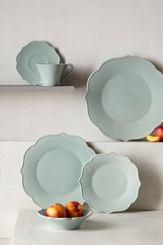 In love with these dishes. Dinner and salad plates.  Lotus Dinner Plate - anthropologie.com