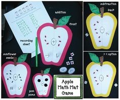 """Apple activities: FREE """"Apple Math Mat"""" crafivity, which practices addition and subtraction, plus greater & less than."""