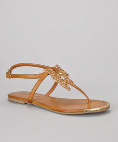 Take a look at this Camel & Gold Butterfly T-Strap Sandal by French Kiss on #zulily today!