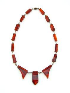 Art Deco Bakelite Necklace Rootbeer by HiddenStairwayFinds on Etsy