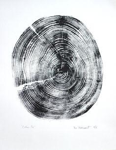 "Title: ""Cedar 56"" - Original handpressed relief woodcut print of a log section"