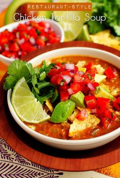 Restaurant-Style Chicken Tortilla Soup is a gluten-free, restaurant quality soup you can make at home!   iowagirleats.com