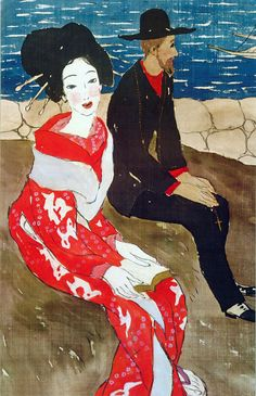 Takehisa Yumeji 竹久夢二 (1884-1934) Beauty and foreigner - 1920s You can see how Japan influenced Toulouse LaTrec and vice versa!