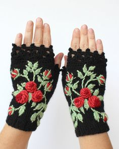 Knitted Fingerless Gloves, Roses, Black, Fall fashion accessories,  Clothing and Accessories, Gloves & Mittens, Accessories, Gift Ideas,