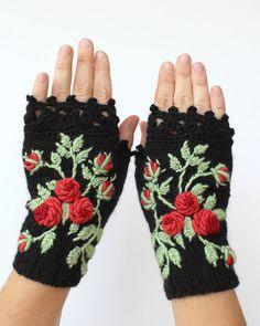 Guantes sin dedos tejidos, rosas, negros, ropa y accesorios, guantes y manoplas, accesorios, Ideas de regalo,