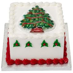 Red and Green Christmas Cake idea for the bakery