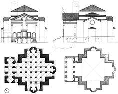 """18. Templo de San Sebastián en Mantua. Alberti (1460). Templo de planta central cuadrada con tres ábsides y capillas laterales dispuestas simétricamente a lo largo de la nave que, iniciada en 1460, ha sufrido múltiples transformaciones. Algunos historiadores de arte piensan que intentó vincular con el mausoleo de Teodorico en Rávena. Este modelo de iglesia se relaciona con los mismos principios propuestos por Alberti en su obra teórica """"de re aedificatoria"""" quien deseo vincular el presente…"""