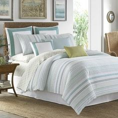 Create a tropical paradise in your bedroom with the Tommy Bahama La Scala Breezer Duvet Cover Set. With a casual cabana stripe in warm and soothing hues, the tranquil bedding instantly transforms your bedroom into a relaxing retreat. Queen Comforter Sets, Duvet Sets, Duvet Cover Sets, Queen Duvet, Blue Comforter, Green Bedding, King Duvet, Duvet Bedding, Beach House Bedroom