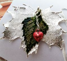 Real Leaves Necklace, Custom TreeHeart Pendant, Sugar Maple, Green Birch, Red Heart, sterling chain by Woodsmith