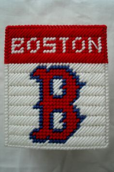 Boston Red Sox Tissue Box Cover in Plastic Canvas by LesleesCrafts, $14.00