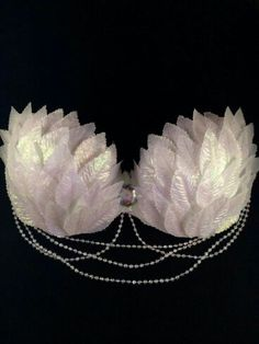 Bra Top: Made to order, sizes A-C. Layered with iridescent leaves, an iridescent rhinestone centerpiece and iridescent hanging pearls. Comes with removable straps. Rave Costumes, Burlesque Costumes, Belly Dance Costumes, Burlesque Outfit, Fairy Costumes, Festival Wear, Festival Outfits, Festival Fashion, Fashion Design Inspiration
