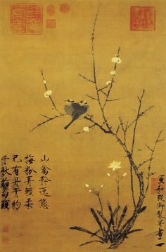 Painted by the Song Dynasty artist Zhao Ji 宋徽宗赵佶. View paintings, artworks and galleries at Chinese Art Museum. Learn about Chinese history and art at China Online Museum. Korean Painting, Chinese Painting, Chinese Art, Chinese Calligraphy, Calligraphy Art, Japanese Song, Old Paintings, Ancient China, Japan Art