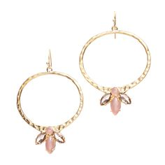 """Love this! Found it on Unlimited Beauty~Jewelry~ UnlmtdBeauty.kitsylane.com  Take a walk on the softer side with the Isabelle Earrings. Crafted from hammered gold plate in a matte finish and enhanced with pink tourmaline and rose quartz, these earrings are both elegant and glamorous. - Gold plate, pink tourmaline, rose quartz - Approx. 2"""" long - French wire Item # BLE20001013"""