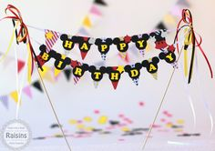 Mickey & Minnie Mouse Birthday Cake Banner, Minnie cake Banner, Mouse Banner, Bunting Cake Banner, Mickey Bunting Banner, Garland - pinned by pin4etsy.com