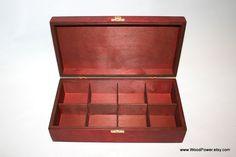 8 Compartments Wooden Box / Red Wooden Box / Wooden Tea Box / Keepsake Box / Jewelry Box