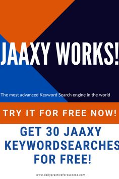 Get 30 free Keyword searches with Jaaxy. The worlds most advanced Keyword search engine. Find the best Keywords for your niche, website, ads and more. Try it now Digital Marketing Trends, Marketing Tools, Internet Marketing, New Business Ideas, Online Business, Seo Techniques, Search Engine Marketing, Seo Tips, Earn Money Online
