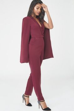 Tuxedo Cape Jumpsuit in Oxblood Prom Jumpsuit, Cape Jumpsuit, Jumpsuit Outfit, Work Outfits, Casual Outfits, Classy Suits, Bridesmaid Dresses, Prom Dresses, Signature Look
