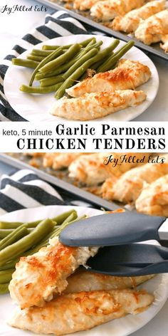 Five Minute Garlic Parmesan Chicken Tenders - Low Carb, THM S, Grain Gluten Free, Keto - It can be difficult to make simple staples taste good quickly. My Five Minute Garlic Parmesan Chicken Tenders do just that. With a five minute prep time, you can pop Parmesan Chicken Tenders, Garlic Parmesan Chicken, Keto Chicken, Recipes With Chicken Tenders, Chicken Tenders Healthy, Recipe Chicken, Broil Chicken, Healthy Chicken Strips, Chicken Menu