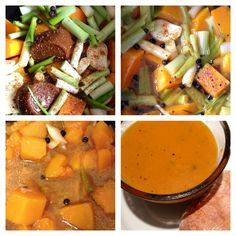 Butternut and Spring Onion Soup - Chopped chunks of butternut, half a bunch of spring onions, two pots of gel stock pots, 3-5 whole cloves of garlic, 10-12 green pepper corns, salt, pepper - bring to boil, then turn down and simmer until soft. Allow to cool. In a separate pan fry a handful of thinly sliced butternut pieces in some olive oil to get a roasted flavour. Once cool, liquify in a liquidisers/blender. Enjoy with a drop of cream and it bread roll.