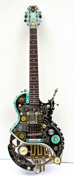 Les Paul Steampunk Guitar Custom Made Les Pipes | eBay  Are those horn rotary keys I see?